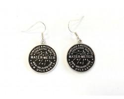 Antique Silver Plate Water Meter Hook Earrings 22mm