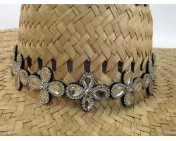 Clear Crystal 4-Leaf Daisy Stretch Hat Band