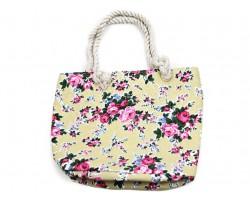 Yellow Cloth Bag Pink Roses Tote Bag