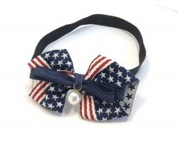 USA Red White Blue Flag Pearl Bow Stretch Headband