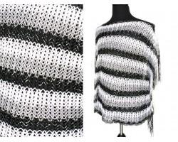 Black Gray White Striped Knit Fringed Poncho