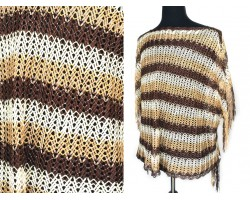 Brown Taupe White Striped Knit Fringed Poncho