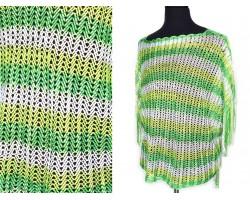 Green Peridot White Striped Knit Fringed Poncho