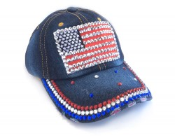 USA Flag Crystals Dark Blue Denim Cap