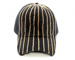 Gold Stripe Crystal Black Ball Cap