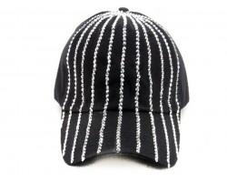 Crystal Stripe Black Ball Cap