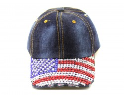 USA Flag Crystals on Brim Dark Blue Denim Cap