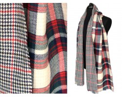 White Red Navy Plaid Fringe Oblong Scarf