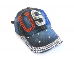 USA Crystal Dark Blue Denim Cap