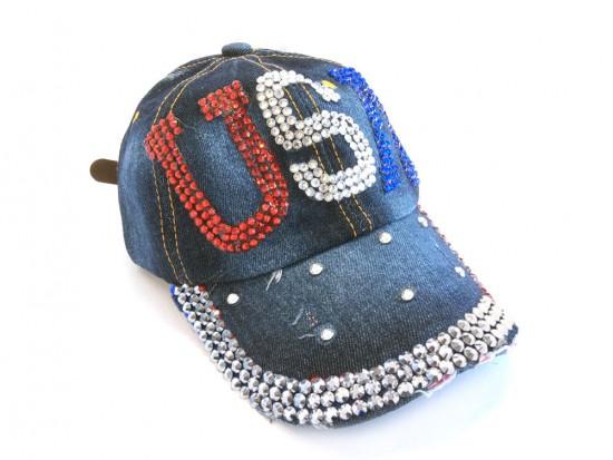 USA Crystal Dark Blue Denim Cap