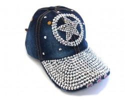 Silver Crystal Western Star Dark Denim Ball Cap