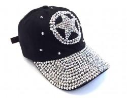 Silver Crystal Western Star Black Ball Cap
