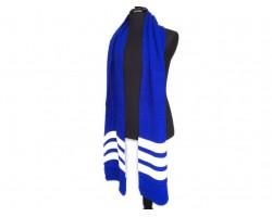 Blue White End Stripes Knit Oblong Scarf
