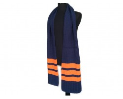 Navy Blue Orange End Stripes Knit Oblong Scarf