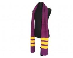 Purple Gold End Stripes Knit Oblong Scarf