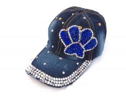 Blue Silver Paw Print Denim Ball Cap