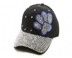 Blue Silver Paw Print Black Ball Cap