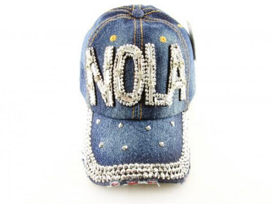 NOLA Baguette Crystal Dark Blue Denim Ball Cap