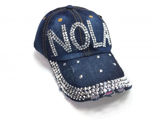NOLA Crystal Dark Blue Denim Ball Cap