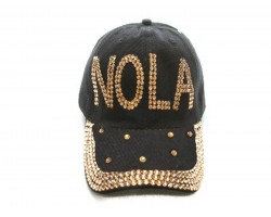 NOLA Gold Crystal Black Ball Cap