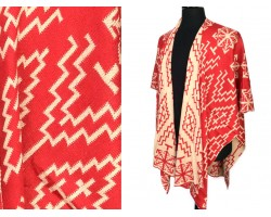 Red Beige Geometric Woven Long Reversible Poncho