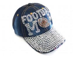 Blue Denim FOOTBALL MOM Baseball Hat Cap