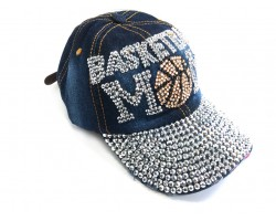 Blue Denim BASKETBALL MOM Baseball Hat Cap