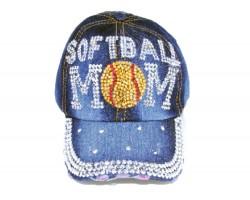Blue Denim Softball MOM Baseball Hat Cap