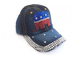 Blue Denim Red White Blue Elephant Baseball Cap