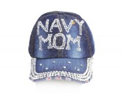 Navy Mom Crystal Dark Blue Denim Ball Cap