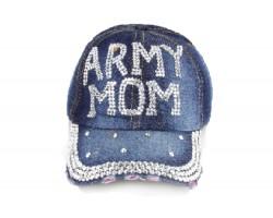 Army Mom Crystal Dark Blue Denim Ball Cap