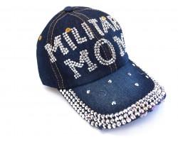 Military Mom Crystal Dark Blue Denim Ball Cap