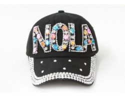 Multi NOLA Baguette Crystal Black Ball Cap