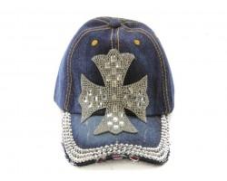 Crystal Cross Dark Blue Denim Ball Cap