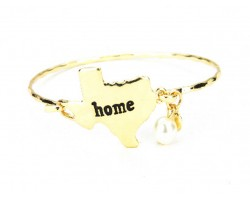 Gold Texas State Home Bangle