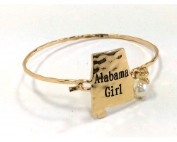Gold Alabama Girl State Map Bangle