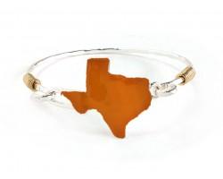 Orange Texas State Map Silver Bangle