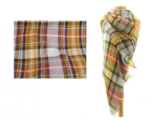 Yellow Orange Beige Plaid Fringe Blanket Scarf