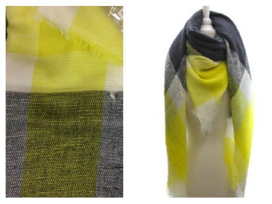 Yellow Grey Green Plaid Fringe Blanket Scarf
