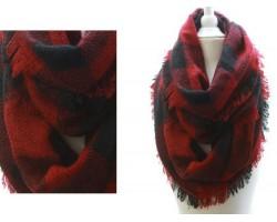 Red Black Plaid Blanket Infinity Scarf