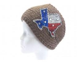Brown Knit TEXAS Crystal Headband