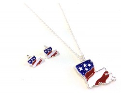 USA Louisiana Map Silver Chain Necklace
