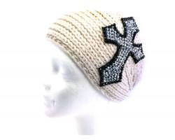 White Knit Crystal Cross Wrap Headband