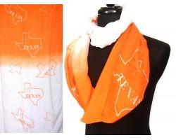 Orange White Texas State Map Infinity Scarf