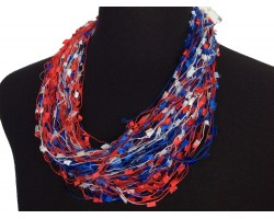 Red White Blue Confetti Magnetic Necklace