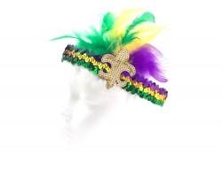 Mardi Gras Feather Gold Fleur De Lis Sequin Headband