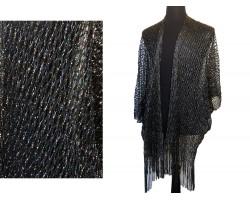 Black Shimmer Diamond Open Weave Fringed Kimono