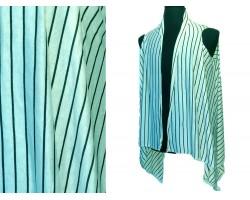 Beige Black Stripes Sleeveless Jersey Knit Cardigan
