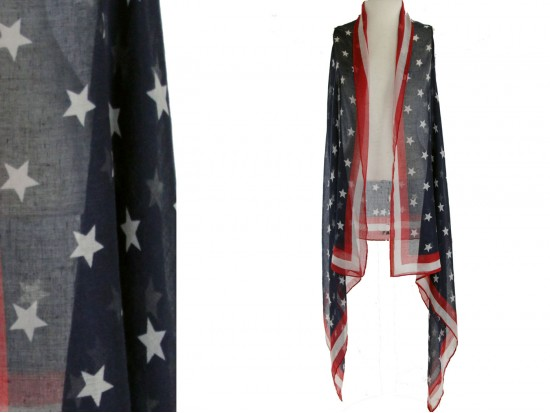 USA Flag Long Tail Sleeveless Vest