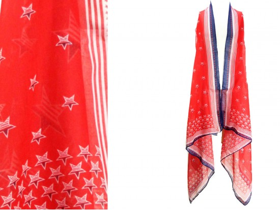 Red USA Flag Theme Long Tail Vest